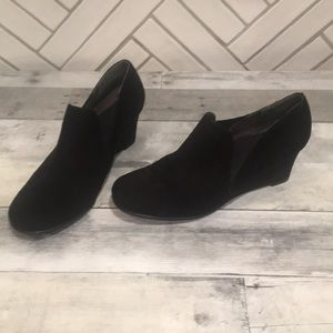 Aero soles black suede wedge booties